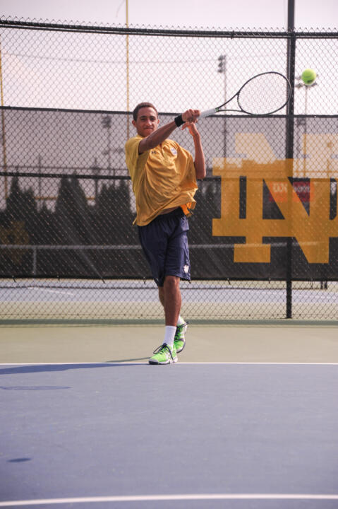 Freshman Grayson Broadus has broken into both the Irish doubles and singles lineups early in his rookie season.