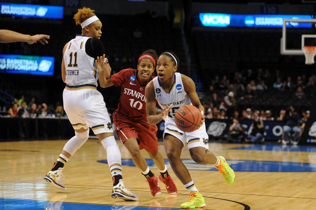 Lindsay Allen, who scored a career-high 28 points, drives past Briana Roberson in last year's Sweet 16.
