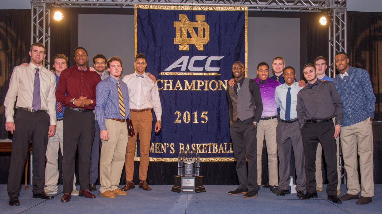 Notre Dame surprised the team by unveiling the 2015 ACC Championship banner at the 2015 Evening With Notre Dame Basketball ceremonies.