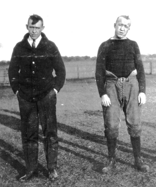 Jesse Harper (left) and Knute Rockne (right) founded the Monogram Club in 1916.
