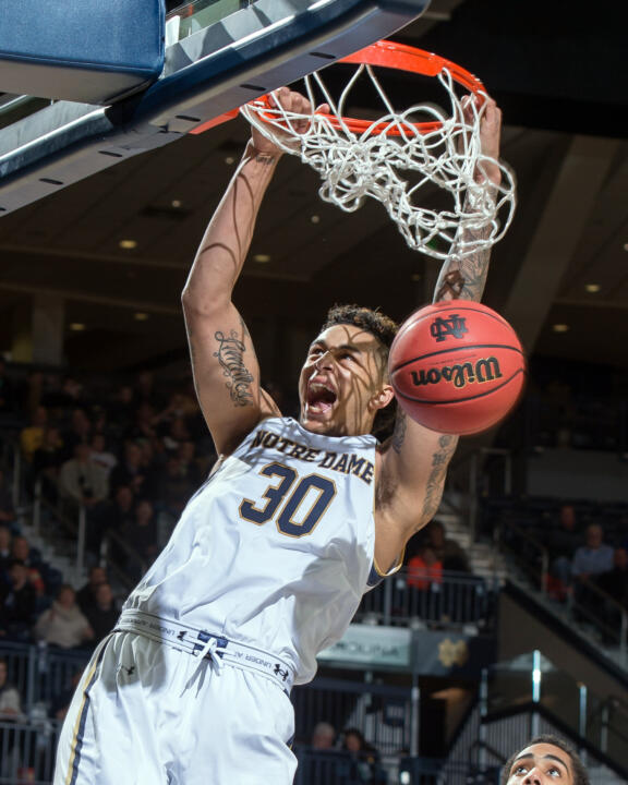 Senior Zach Auguste, averaging 15.1 ppg and 11.1 rpg over his last eight games, will play his final two home games at Purcell Pavilion this week.