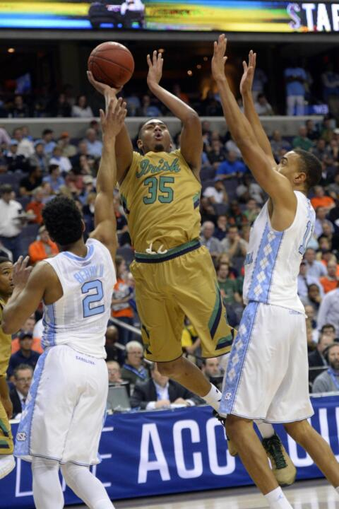 Bonzie Colson shoots over North Carolina Tar Heels forward Brice Johnson.