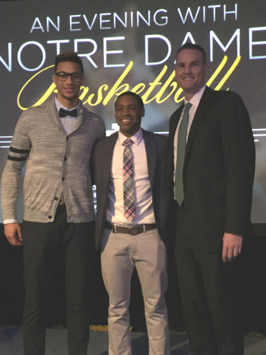 Former Fighting Irish star, NBA veteran and current Monogram Club treasurer Pat Garrity (right) presented the award to Zach Auguste (left) and Demetrius Jackson (center).