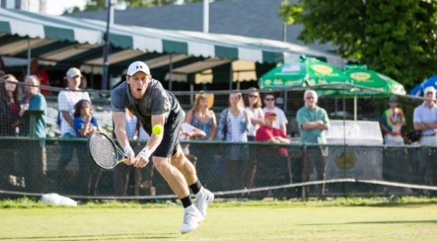 Lawson play in a grass-court ATP Challenger tournament in Newport, Rhode Island.