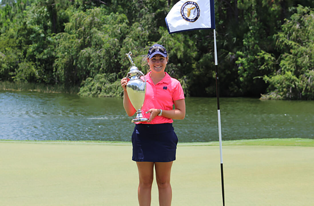 Notre Dame sophomore Emma  Albrecht rolled to victory at the 87th Florida State Women's Amateur Championship on Sunday, winning her final four matches in 16 holes or less, including a 5&4 victory in the title match.