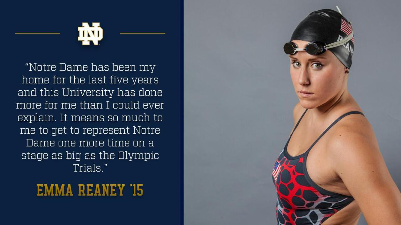 Notre Dame graduate Emma Reaney is set to compete in her third Olympic Trials (2008, 2012 & 2016).