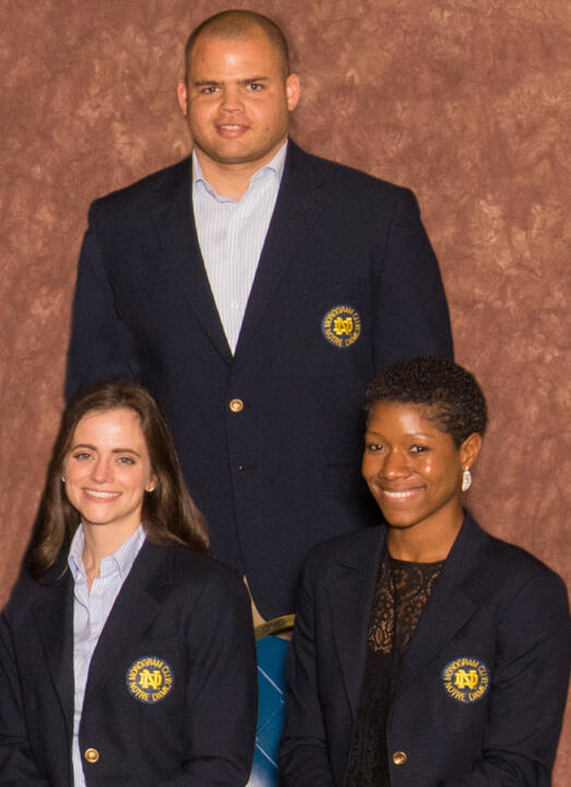Jeff Faine (standing), Jennette Rauch (left) and Jes Christian (right) will serve a four-year term on the Monogram Club Board of Directors.