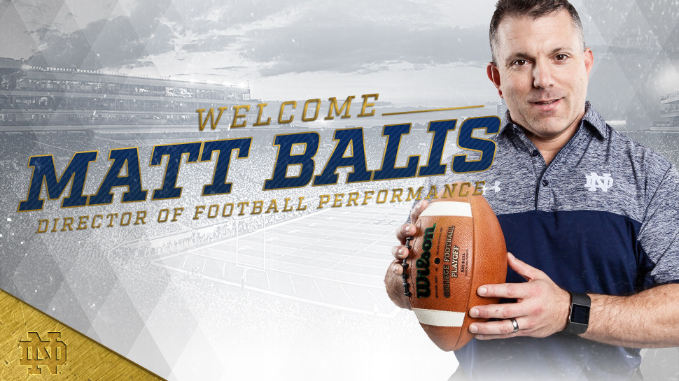 Matt Balis Named Notre Dame Director of Football Performance – Notre