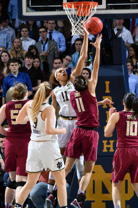 Only Ruth Riley (370) has more career blocked shots for the Irish than Brianna Turner's 263.