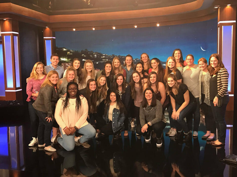 Jen Sharron (far right) joins the Notre Dame softball squad on the set of Jimmy Kimmel Live.