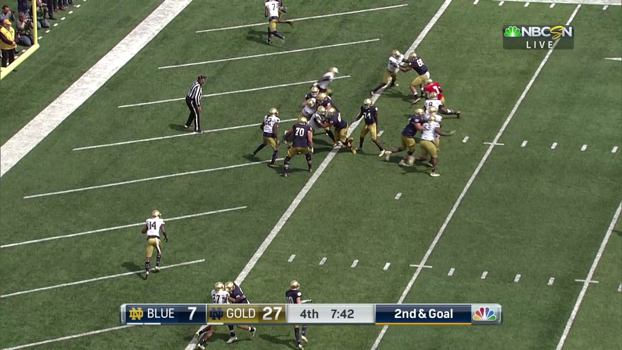 Notre Dame Football Quick Plays Wimbush TD Run April 22, 2017