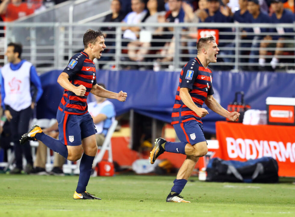 Matt Besler (left) celebrates with Jordan Morris after the winning USMNT goal of a 2-1 victory over Jamaica to claim the 2017 CONCACAF Gold Cup on Wednesday