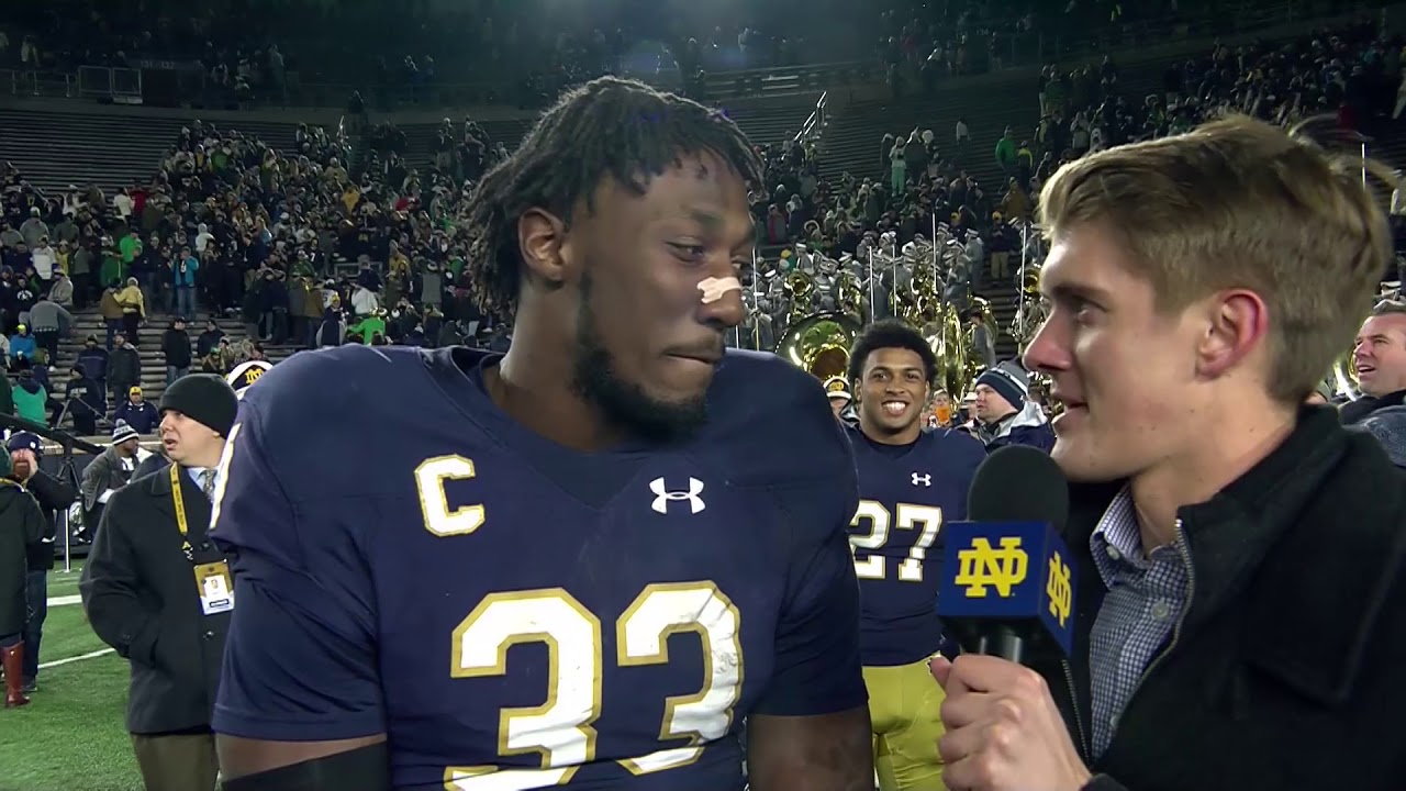 @NDFootball Josh Adams Post-Game Interview vs. NC State (2017)