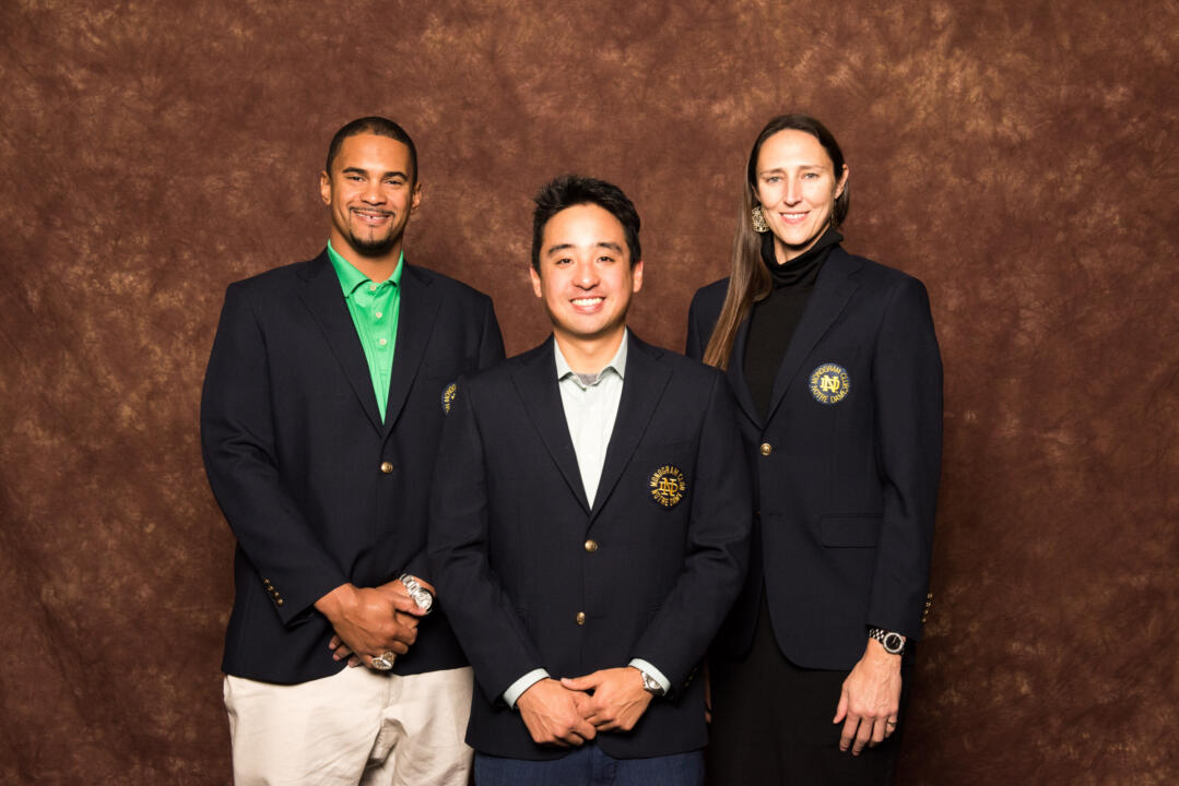 (left to right) Ryan Harris ('07, football), Takashi Yoshii ('10, tennis) and Ruth Riley ('01, '16, basketball)