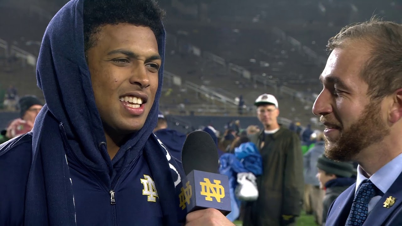 @NDFootball Julian Love - Post-Game Interview - Navy (2017)