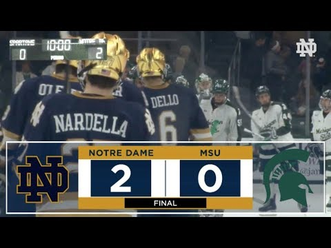 Highlights | @NDHockey at Michigan State, Game 2 (2017)