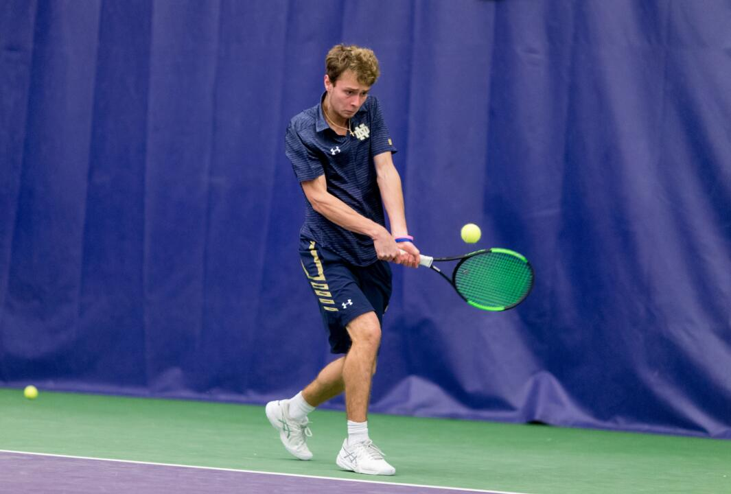 The University of Notre Dame competes against the University of North Carolina in the first round of the ITA Division I National Men's Team Indoor Championship hosted by the University of Washington at the Nordstrom Tennis Center in Seattle on February 16, 2018. (Photography by Scott Eklund/Red Box Pictures)