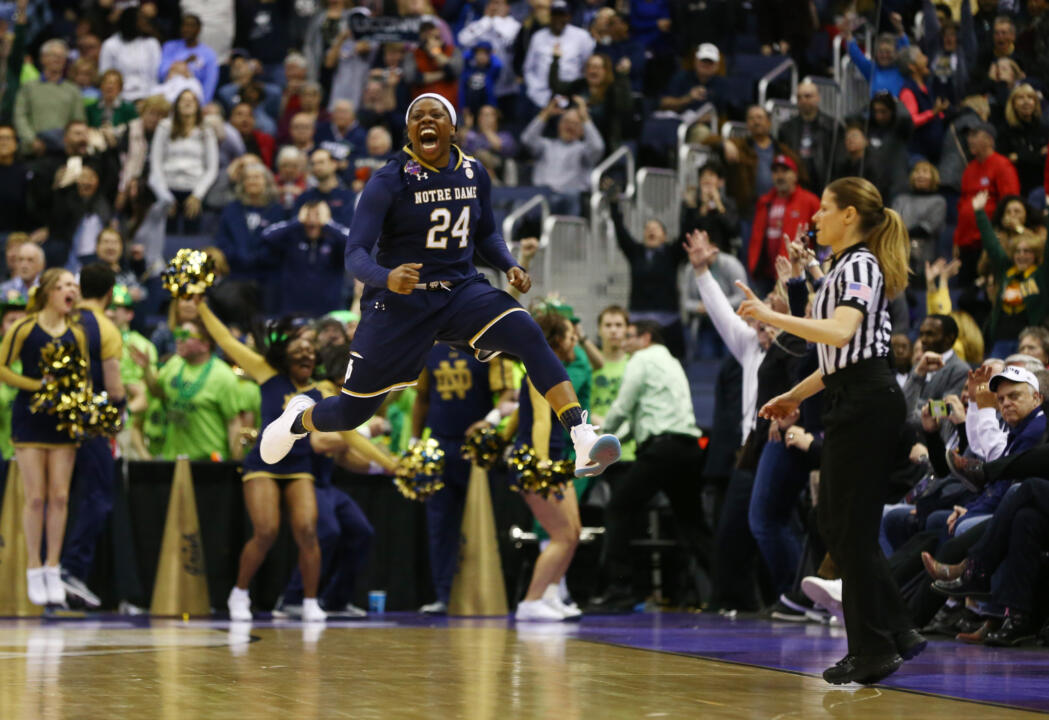 Mar 30, 2018; Columbus, OH, USA; Notre Dame Fighting Irish guard Arike Ogunbowale (24) reacts after hitting the game winning shot against the Connecticut Huskies in overtime in the semifinals of the women's Final Four in the 2018 NCAA Tournament at Nationwide Arena. Mandatory Credit: Aaron Doster-USA TODAY Sports