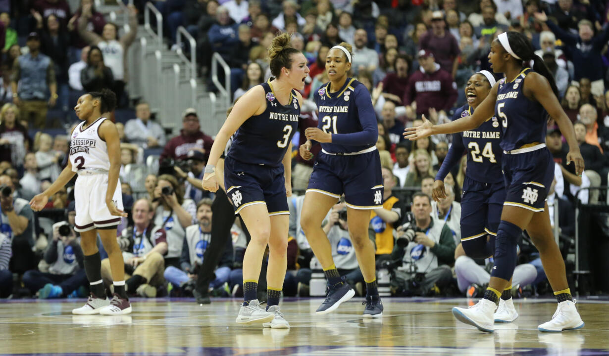 Apr 1, 2018; Columbus, OH, USA; Notre Dame Fighting Irish guard Marina Mabrey (3) reacts with her teammates during the third quarter against the Mississippi State Lady Bulldogs in the championship game of the women's Final Four in the 2018 NCAA Tournament at Nationwide Arena. Mandatory Credit: Joe Maiorana-USA TODAY Sports