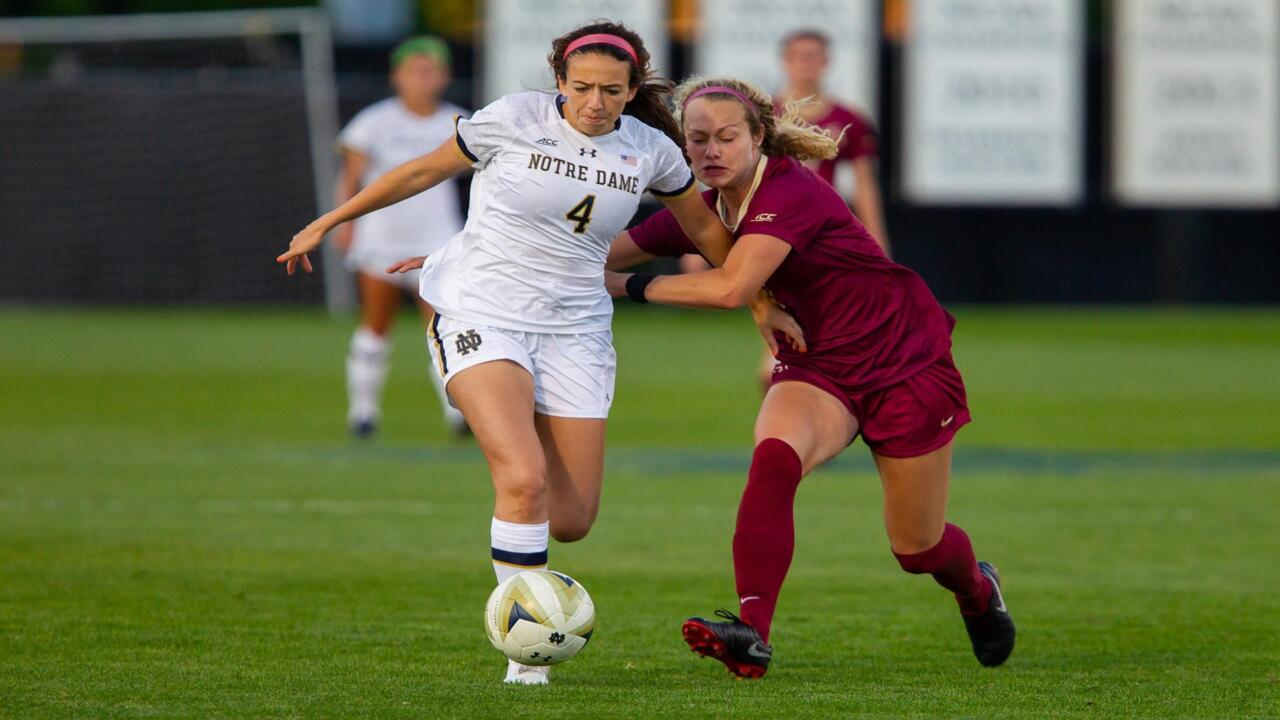 during ACC soccer action between University of Notre Dame vs. Florida State University at Alumni Stadium on September 27, 2018 in South Bend, Indiana.
