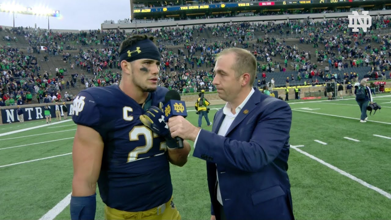 @NDFootball | Post Game Interview Drue Tranquil