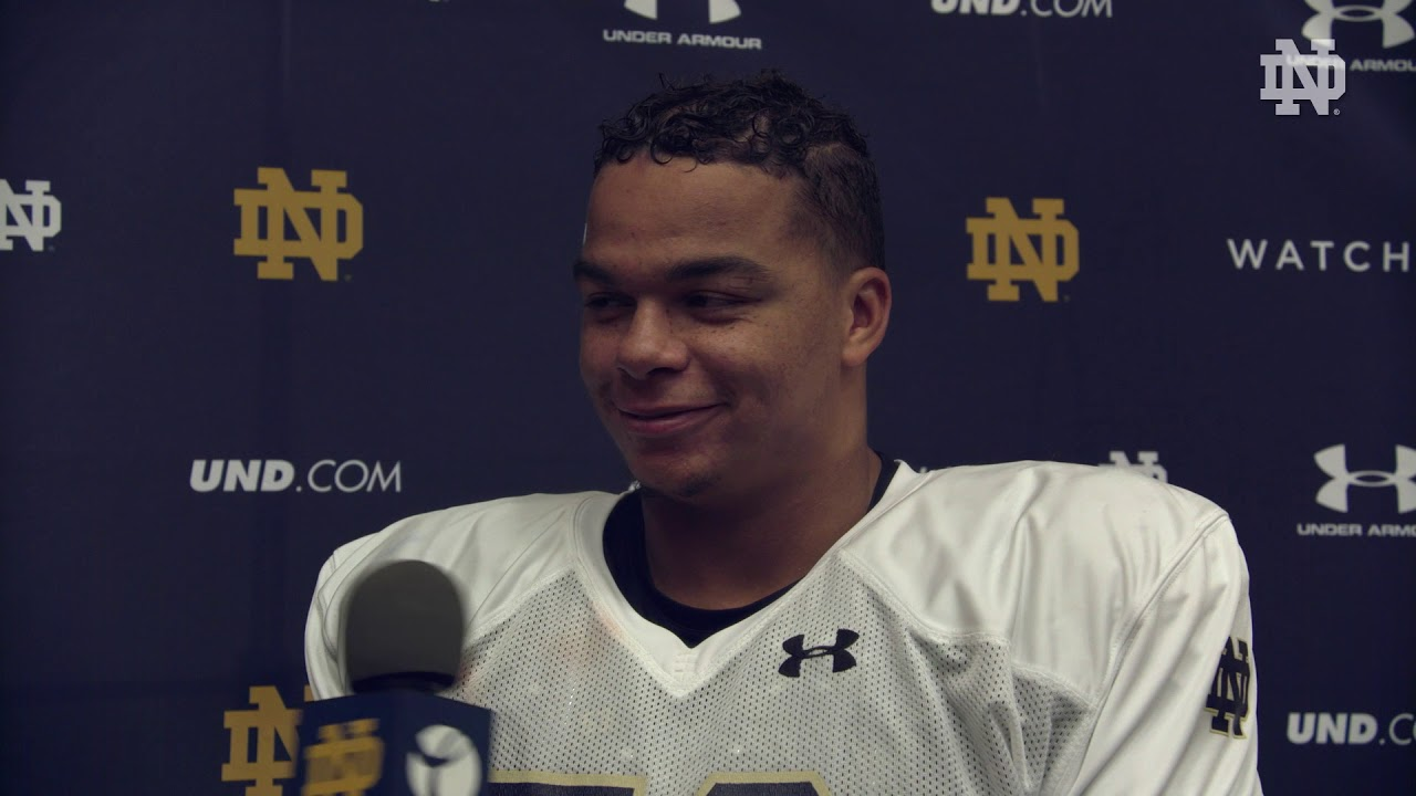 @NDFootball | Sam Mustipher Post Practice Interview Northwestern Week (2018)