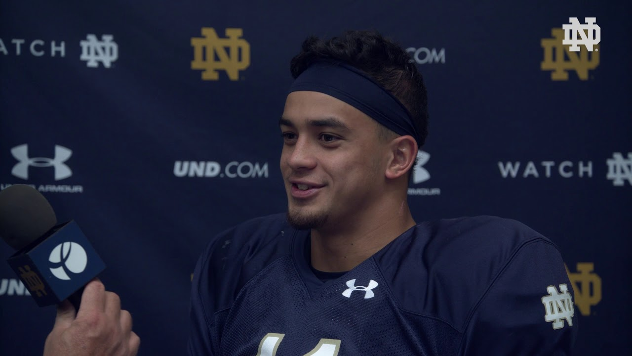 @NDFootball | Alohi Gilman Post Practice Interview Navy Week (2018)