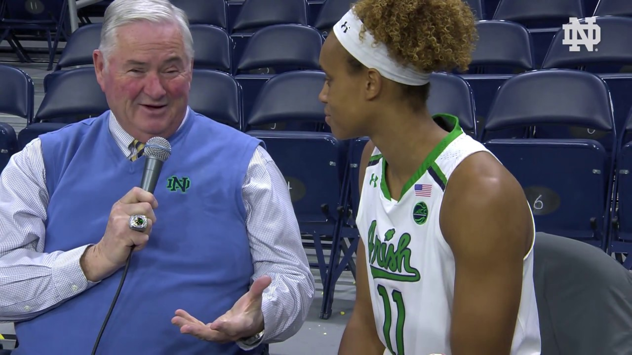 @ndwbb | Brianna Turner and Coach Carol Owens Instant Reaction vs. Harvard (2018)
