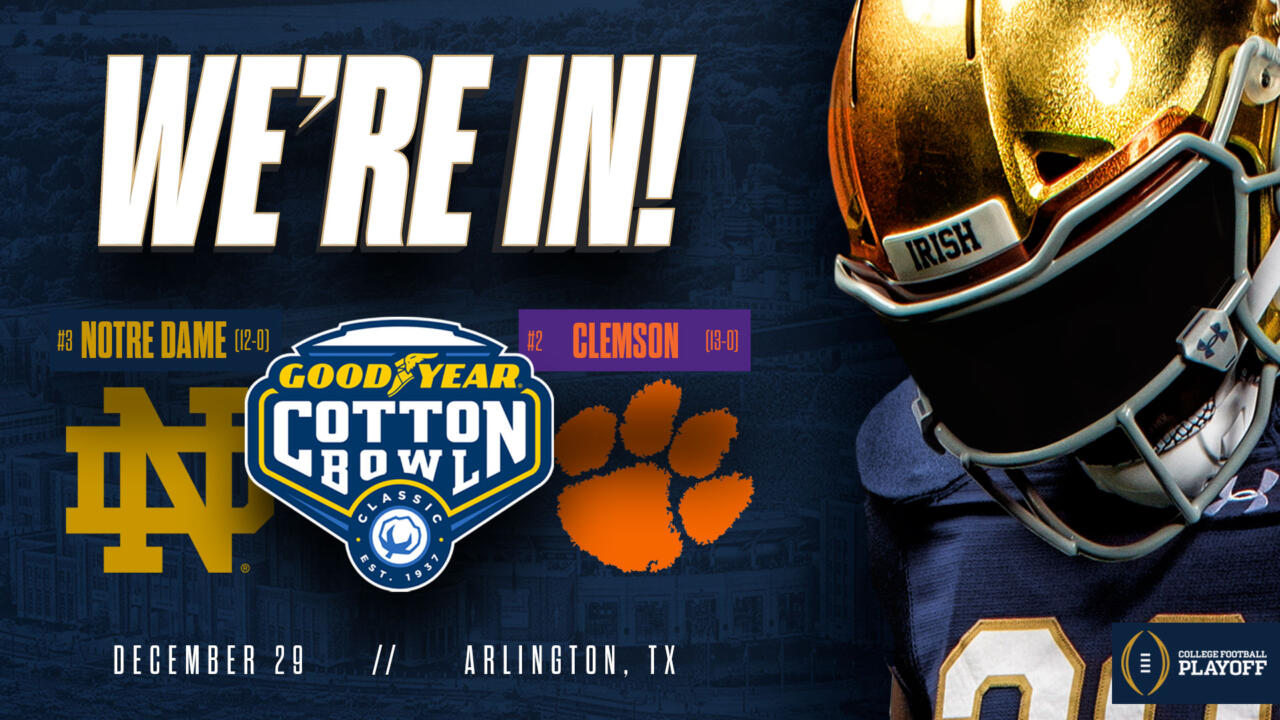 Notre Dame To Face Clemson In Cfp Semifinal At Goodyear