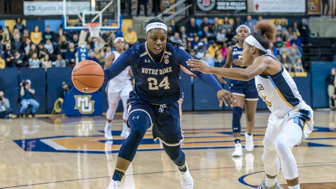 695dd89d 2 Irish Earn Fourth Ranked Win with 87-63 Win at No. 19 Marquette