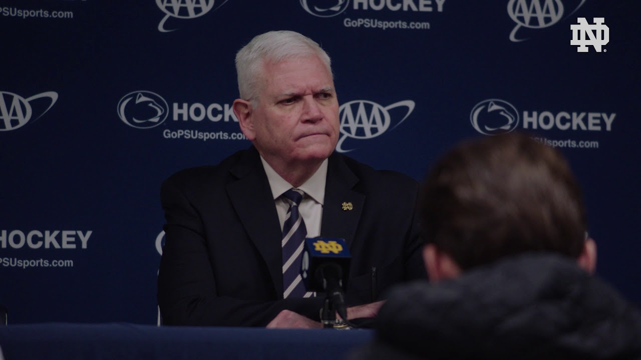 @NDHockey | Jeff Jackson Post-Game Press Conference at Penn State, Game 2 (2018)