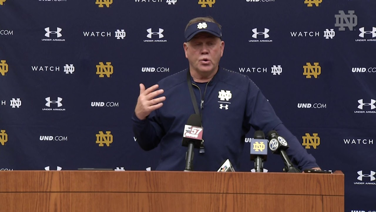 @NDFootball | Brian Kelly Post-Practice Press Conference (2018)
