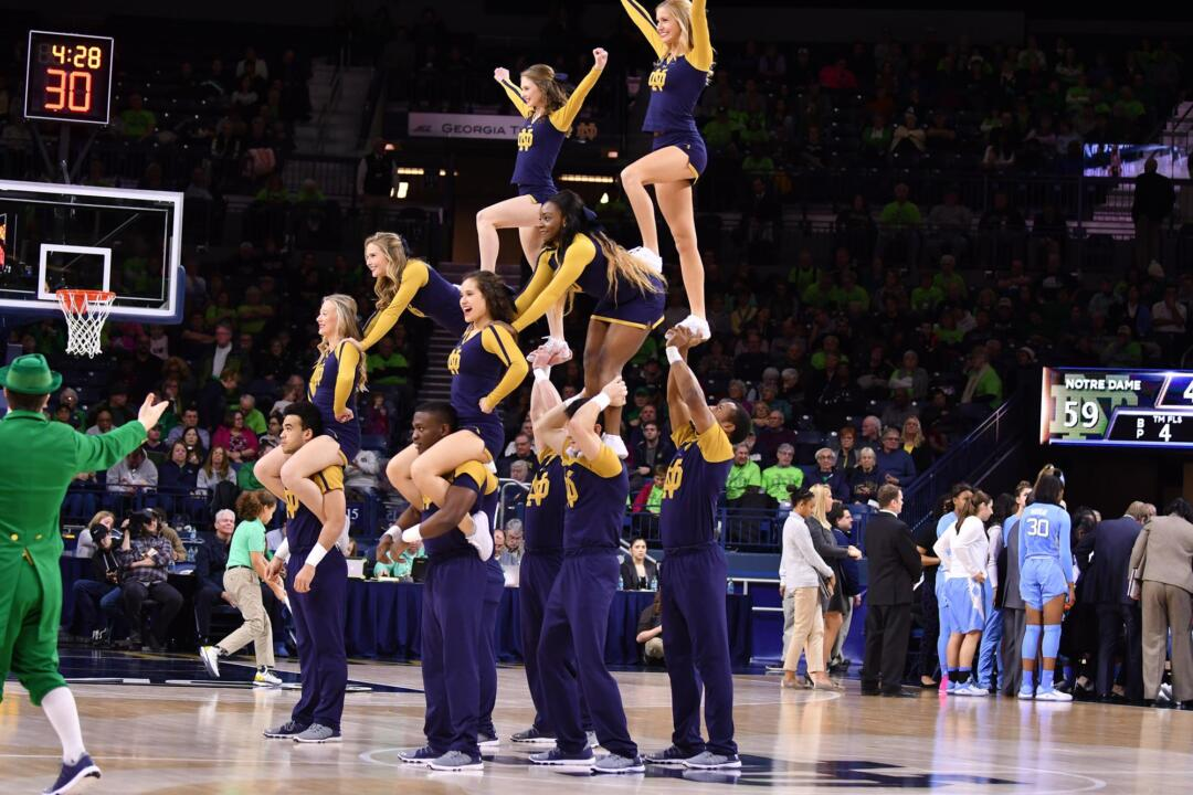 Notre Dame Cheerleaders performing for the crowd during a media timeout