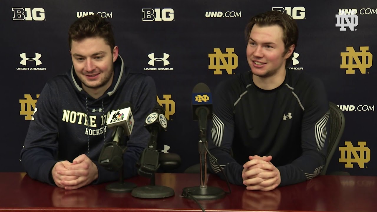 @NDHockey | Cale Morris & Andrew Peeke Post-Game Press Conference vs. Boston College (2018)