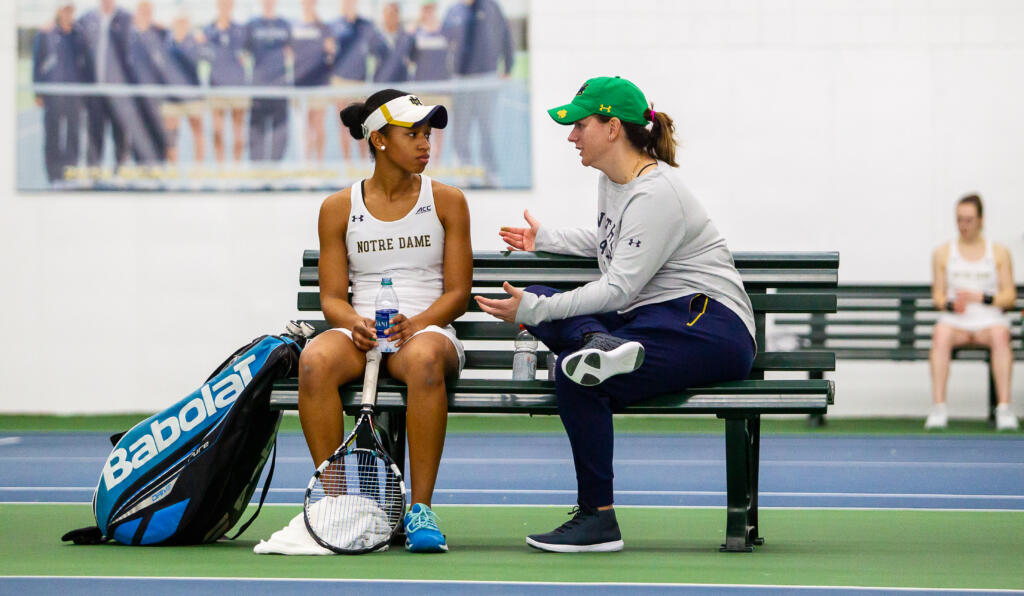 Zoe Spence (left) and head coach Alison Silverio during the ACC match between University of Notre Dame vs. University of Louisville at Eck Center on March 8, 2019 in South Bend, Indiana.