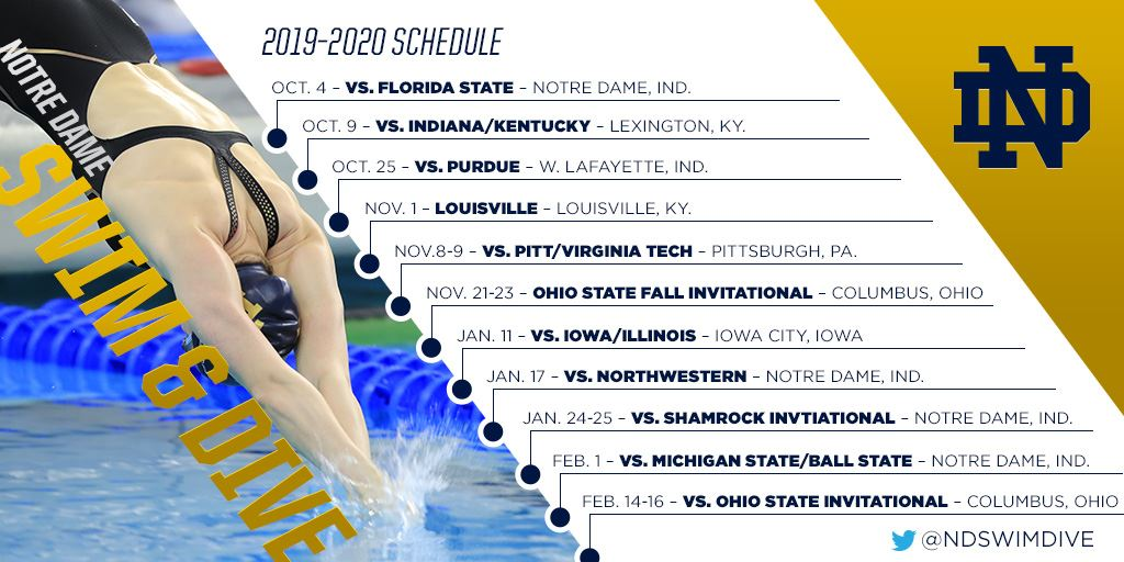 Notre Dame 2020 Football Schedule.Irish Announce 2019 20 Swim And Dive Schedule Notre Dame