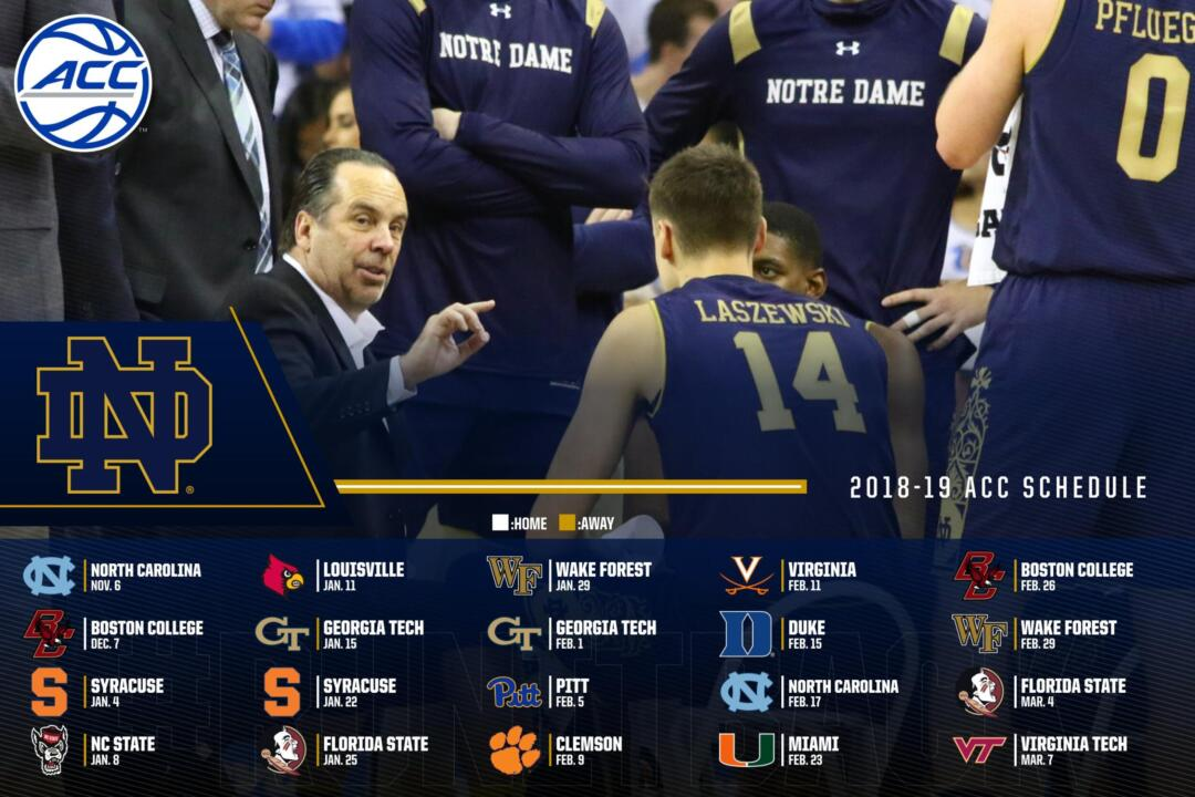 picture relating to Unc Basketball Schedule Printable named ACC Unveils Inaugural 20-Sport League Routine Notre Dame